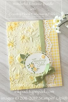 Romancing the New Country Floral Embossing Folder Stampin' Up!®'s Wonderful Romance takes on a country feel with Country Floral and Gingham Gala. Diy Cards, Your Cards, Embossed Cards, Stamping Up Cards, Arte Floral, Sympathy Cards, Embossing Folder, Flower Cards, Creative Cards