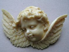 Victorian Hand Carved Ivory Cherub Cameo Brooch Pin