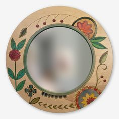 Large Round Mirror, Circular Mirror, Round Mirrors, Diy Wall Decor For Bedroom, Stick Art, Condo Decorating, Mirror Painting, Diy Mirror, Eclectic Decor