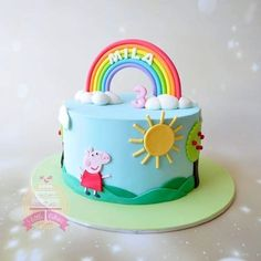 Peppa Pig rainbow cake Peppa Pig is a English preschool super-hero television sequence directed and Cake Peppa Pig, Tortas Peppa Pig, Bolo Da Peppa Pig, Cumple Peppa Pig, Peppa Pig Birthday Cake, Rainbow Birthday Cakes, 3rd Birthday, Cake Rainbow, Rainbow Sprinkles