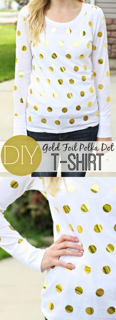 Jazz up a plain t-shirt with gold foil circles - this project is so easy to do and adds some much needed sparkle to your wardrobe!