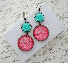 Light Turquoise and Dark Pink Earrings Damask by WearitoutJewelz