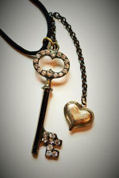 Rhinestone Studded Key To My Heart Necklace by OneCharmingTreasure