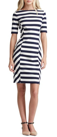 Augusta Fitted Striped Dress by Tory Burch at Neiman Marcus. Navy And White Dress, Striped Dress, Black White, Urban Chic, Cool Outfits, Casual Outfits, Vetement Fashion, Mode Chic, Dressing
