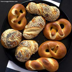 laugengebäck mit dinkelmehl / lye pastry with speltflour Bagel, Ice Cream, Bread, Dinner, Desserts, Recipes, Food, German Cookies, Play Dough