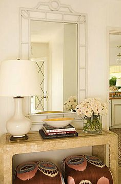 entrances/foyers - white faux bamboo mirror white gourd lamp console table brown pink turquoise blue ottomans Chic foyer design with white faux Bamboo Mirror, Mirror Lamp, Mirrors, Sunburst Mirror, Ethno Design, Interior Decorating, Interior Design, Decorating Ideas, Hallway Decorating