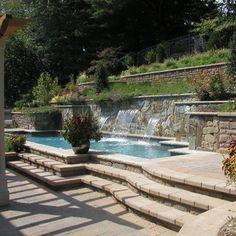 Hillside Pool, Terraced Retaining Walls, Lighting, Landscape,Ipe Pergola