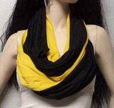 Black & Gold Infinity Scarf SUPER Soft by GypsysWildHeartShop