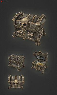 """Low Poly Treasure Chest Medium  Add a professional touch to your game project with this low poly, hand painted medium sized treasure chest. You should find this items easy to reshape and alter as needed or it can just be used as is. The chest comes with an """"open"""" animation (frames 0-14)"""