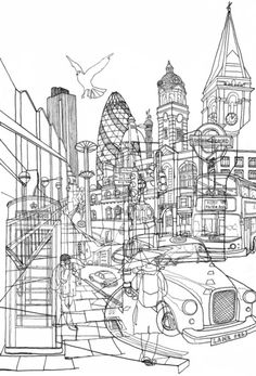 London Print by David Bushell London Illustration, Illustration Art, Gherkin London, Outline Art, A Level Art, Gcse Art, London Art, Urban Landscape, Oeuvre D'art