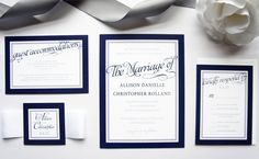 View our navy blue wedding invitation by kraftweddingpapers. Purchase a wedding invitation sample to view this wedding invitation and our printed color chart!