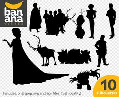 SALE Frozen Silhouettes png jpg svg eps files high resolution BV-FA-0020