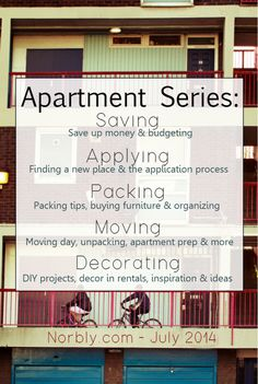 This apartment series will cover everything from finding your apartment to decor once you move. Perfect for your first apartment or a college apartment. How to save budget, step by step application process, packing tips, moving tips and decorating tips inspiration. Everything you need to know about an apartment on one blog.