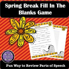 Spring Break Fill In The Blanks Game Worksheets Parts Of Speech Activities, Alphabet Activities, Writing Activities, Unit Of Time, Silly Sentences, Christian Preschool, Christian Missionary, Grammar Games, Spring Break Trips