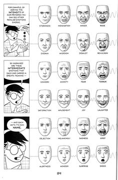 Facial Expressions: Scott McCloud explains Paul Ekman in 2019 Face Reference, Drawing Reference, Model Vivant, Motion Design, Human Face Drawing, Face Drawings, Facial Expressions Drawing, Handwriting Analysis, Writing Tips