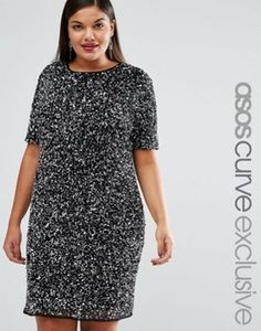 ASOS CURVE RED CARPET All Over Sequin Shift Dress