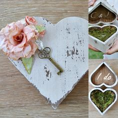 Wedding ring bearer heart box, Rustic wedding ring box, Ring bearer pillow alternative