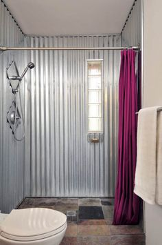 Nice, simple shower idea. Curtain seems ok too, as opposed to expensive glass doors. 12 Great Sheet Metal Home Decor Ideas