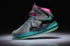 separation shoes a3993 a5a7e Womens Lebron shoes 2013 Nike Lebron 10 South Beach Grey Black ThinkPink  Brown Adidas Trainers,