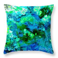 Color Wash Abstract in Blue Throw Pillow by Regina Geoghan