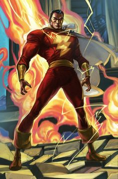Captain Marvel is known as the world's mightiest mortal, a super-hero with magic origins. He was chosen to be a champion for good by the powerful wizard Shazam, and gains incredible powers whenever he speaks the wizard's name. In his secret identity he is young Billy Batson. When he speaks the name Shazam! he transforms into his fully-grown heroic persona.