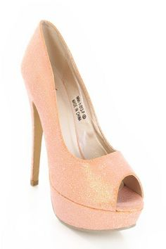 Sparkly Peach Heels Bridesmaid ShoesProm