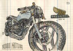 bad ass Honda Bike illustration