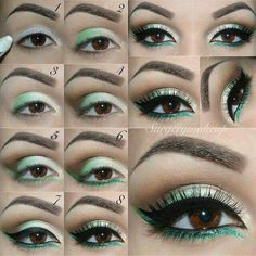 Weddbook ♥ This is an eye makeup tutorial that will add a new colorful look to your routine. This look is all about the green color. The lower lid is lined with sparkly green eyeliner and the upper lid is is brown smokey eye with green accents. Sexy Eye Makeup, Beauty Makeup, Hair Makeup, Makeup Inspo, Makeup Inspiration, Makeup Tips, Makeup Ideas, Style Inspiration, Saint Patricks Day Makeup