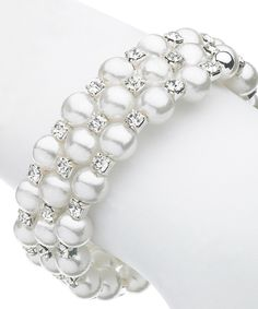 Kents Jewelry Company Pearl Three-Row Stretch Bracelet with Swarovski® Crystal | zulily . $12.99 Compare at $69.00  . 