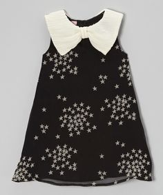 Look what I found on #zulily! Black & Cream Starry Bow Collar Dress - Toddler & Girls by Beetlejuice London #zulilyfinds
