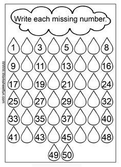 Maths Worksheets for Kindergarten Numbers Missing Numbers 1 50 3 Worksheets Sight Has Lots Of Good Number Worksheets Kindergarten, First Grade Worksheets, 1st Grade Math, Math Activities, Missing Number Worksheets, Free Worksheets, Tracing Worksheets, Math For Kindergarten, Rounding Numbers