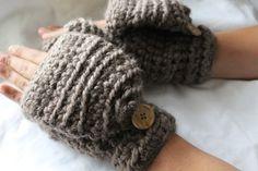 Crochet wool mittens Convertible winter mittens by reneeoriginals1