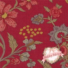 "Josephine 13650-12 Rouge By French General For Moda Fabrics: Josephine is a collection by French General for Moda Fabrics.  100% cotton.  43/44"" wide. This fabric features a large multi-colored floral on a dark red textured background."