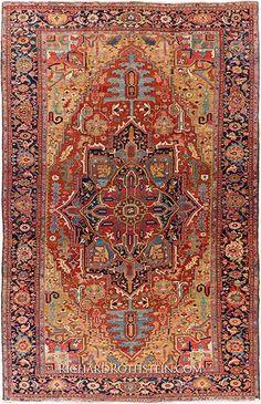 """Museum Heriz Antique Oriental Rug Size: 11' 7"""" x 18' 9"""""""
