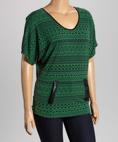 Another great find on #zulily! Green & Black Tribal-Pocket Top - Plus #zulilyfinds