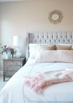 Mix soft tones (in this case blush pink and pale gray) with leopard for an unexpected pairing on your bed for spring. A weathered gray bedside table keeps the room from being too feminine. The decorative lamps and the bedding is available from HomeGoods. Sponsored Pin.