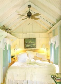 Cottage bedroom - love the windows on both side of the bed.