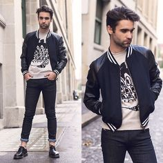 Les Hommes Bomber, Marc By Marc Jacobs Sweater, Diesel Jeans, Dr. Martens Shoes
