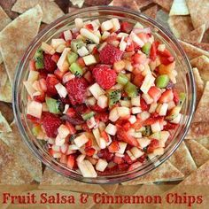 For the fruit salsa: 2 kiwis, peeled and diced 2 Golden Delicious apples – peeled, cored and diced 8 oz raspberries 1 (16 oz) carton of strawberries, diced  Dice & thoroughly mix together Cover and chill in refrigerator  Cinnamon Chips Preheat over to 350 Coat one side of the tortilla with a coconut oil  Cut tortilla into strips and arrange on a non stick cooking sheet Sprinkle with desired amount of cinnamon Bake for 8 to 10 minutes