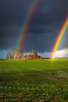 Double Rainbow, Mont Saint-Michel by Mathieu Rivrin Rainbow Magic, Rainbow Sky, Love Rainbow, Beautiful Sky, Beautiful Landscapes, Nature Pictures, Cool Pictures, Landscape Photography, Nature Photography