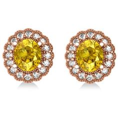 Allurez Yellow Sapphire & Diamond Floral Oval Earrings 14k Rose Gold... ($6,260) ❤ liked on Polyvore featuring jewelry, earrings, pink gold earrings, 14k earrings, rose gold earrings, oval earrings and earring jewelry
