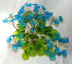 Vintage Handmade Murano Glass Flowers And Leaves With