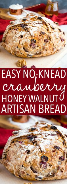 This No-Knead Cranberry Honey Walnut Artisan Bread is a delicious sweet bakery-style bread that's perfect for the holidays! Make it perfect with my easy pro tips for homemade bakery-style bread! Recipe from thebusybaker.ca! #artisanbread #cramberry #honey #walnut #holiday #holidays #bread #easy #recipe #comfortfood #bakerstyle #homemade via @busybakerblog Artisan Bread Recipes, Easy Bread Recipes, Cooking Recipes, Cheap Recipes, Healthy Recipes, Bread Machine Recipes, Quick Bread, Delicious Recipes, Pain Artisanal