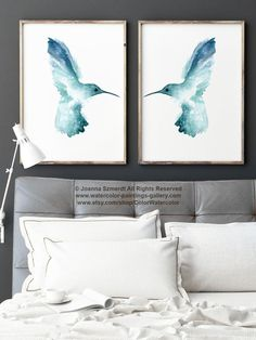Hummingbird Set of 2, Teal Animal Art Print, Blue Bird Birdies Painting, Nursery Boys Room Decor, Kids Wall Poster Gift Idea for Twins