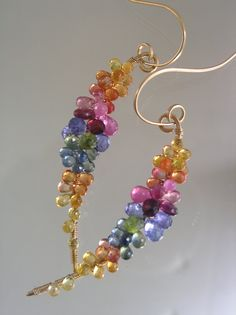 In Between the Rainbow Curve...Tanzanite Garnet Peridot Mostly Sapphire Encrusted Gold Filled Curved Vine Stem Earrings