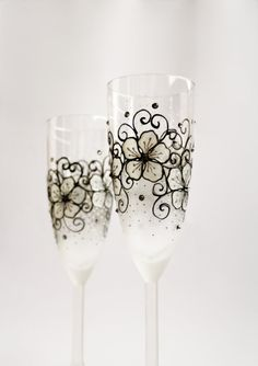 Champagne Flutes Wedding Toasting Hand Painted by NevenaArtGlass, $49.80
