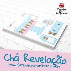 Chá Revelação com Ursinhos. Ursinho Rosa e Ursinho Azul, lindos lindos lindos. Tudo gratis, pronto para personalizar e imprimir. Vamos fazer?