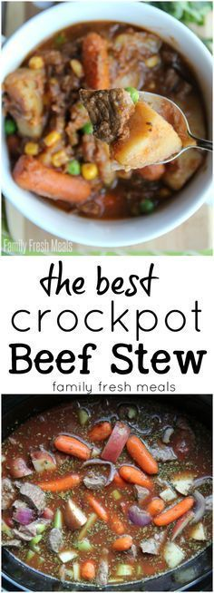 The Best Crockpot Beef Stew - http://FamilyFreshMeals.com Family Fresh Meals, Pot Roast, Stew, Crockpot, Meat, Cake, Ethnic Recipes, Food, Carne Asada