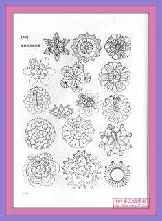 Una locura de ideas: Patrones de flores de ganchillo en tamaño pequeño, para accesorios.