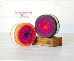 2 Hand Dyed Yarn Balls  100% Wool  Color: Flare by CraftyWoolFelt